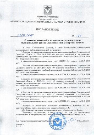 Постановление № 33 от 03.03.2016 года